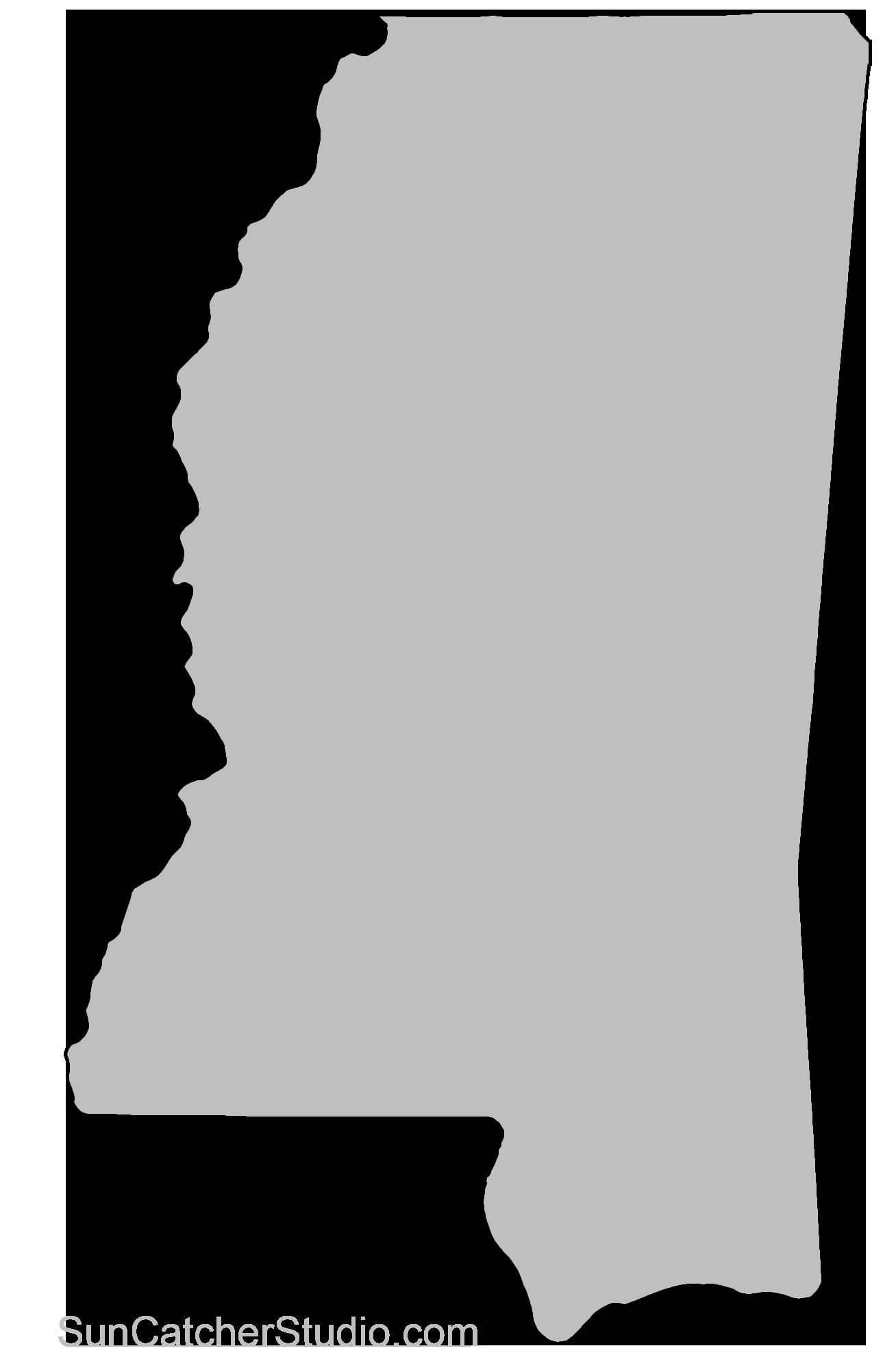 Mississippi State Map Outline.Mississippi Map Outline Printable State Shape Stencil Pattern