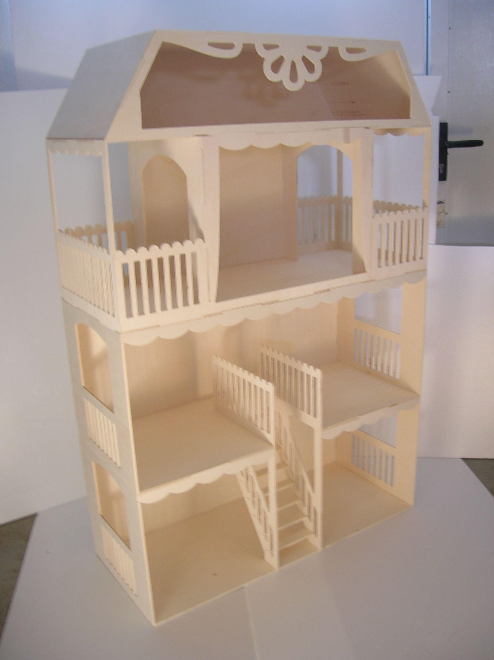 Maison de poup e construire fabriquer en bois puis peindre et d corer - Jeux de construire des maison ...
