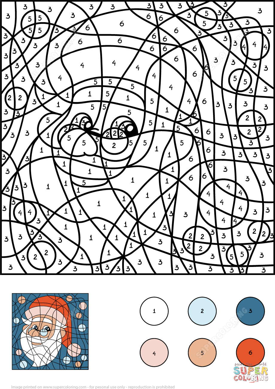 Santa Claus Color by Number Free Printable Coloring