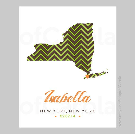 Personalized State Map Name Wall Art Print Birth by ofCarola, $12.00