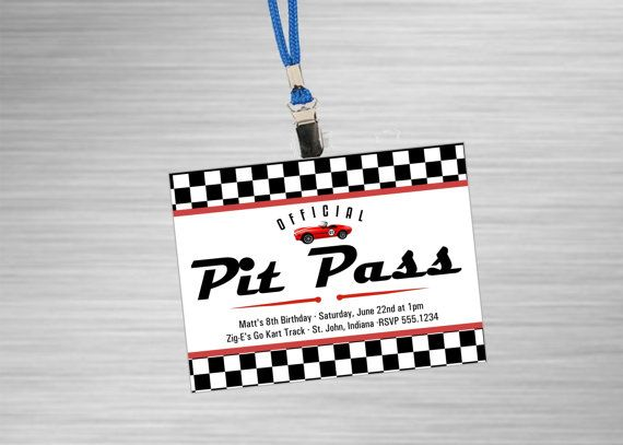 Race Car Party Pit Pass Badge Style Invitations By