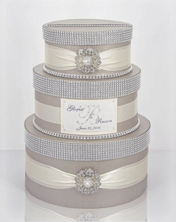 Card box / Wedding Box / Wedding money box - 3 tier round box ...