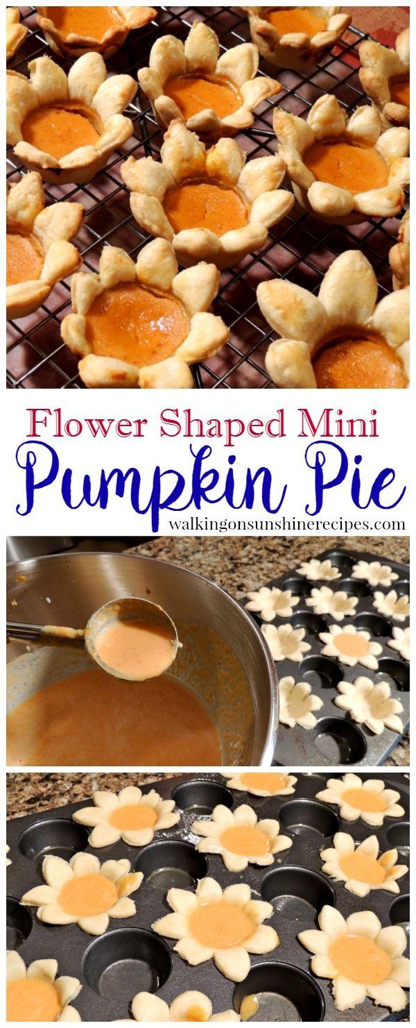 Mini Pumpkin Pie in Easy to Make Flower Shaped Pie Crust