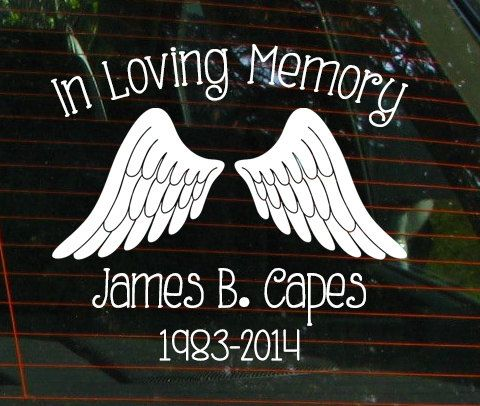 In Loving Memory Car Window Decal With Angel By JensVinylDecals - Window decals in memory of
