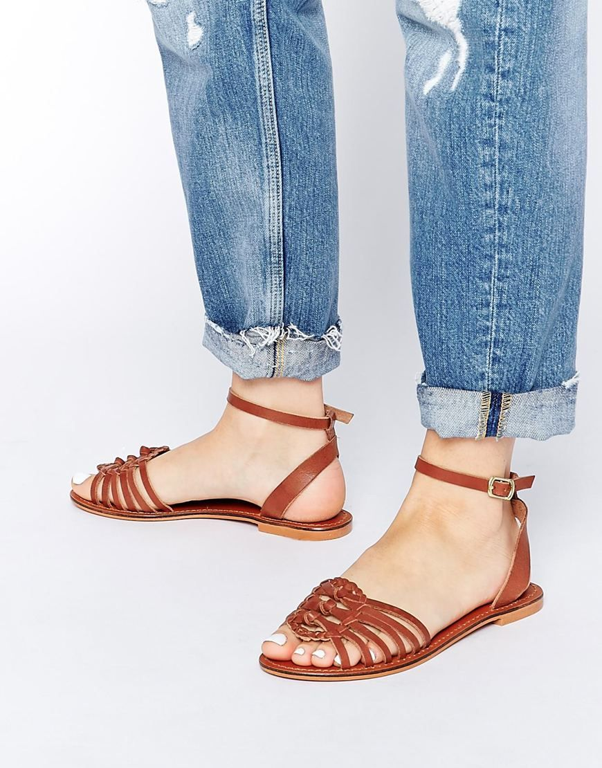DESIGN Faithful Woven Leather Sandals - Gold Asos
