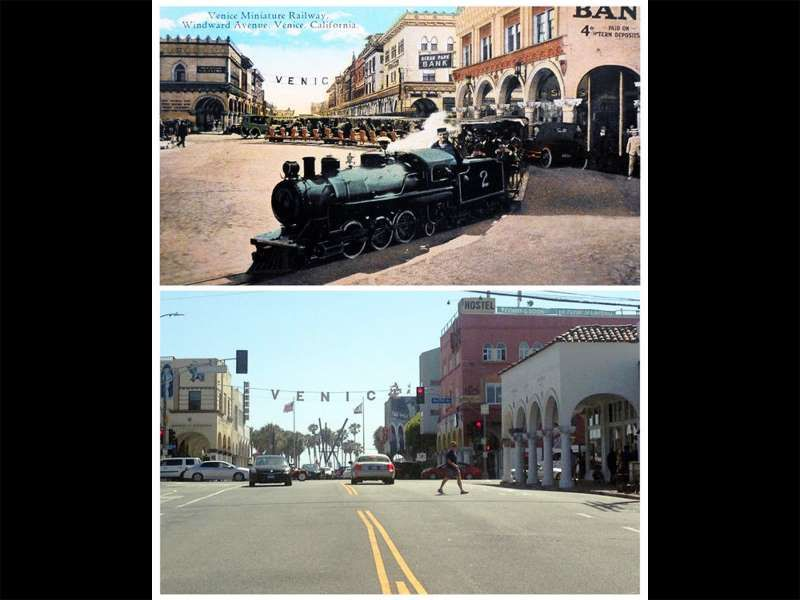 Postcard Locations, Then and Now <<<=>>> 6. The MINIATURE RAILROAD AMUSEMMENT (1910s Postcard) Location: Pacific Ave and Windward Ave, Venice, CA The train is gone, but it's nice to see that a lot of the original architecture is still there. Provided by Mental Floss
