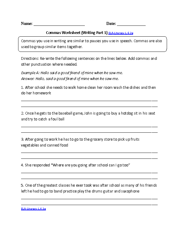 Commas Worksheet 1 Ela Literacyl62a Language Worksheet School