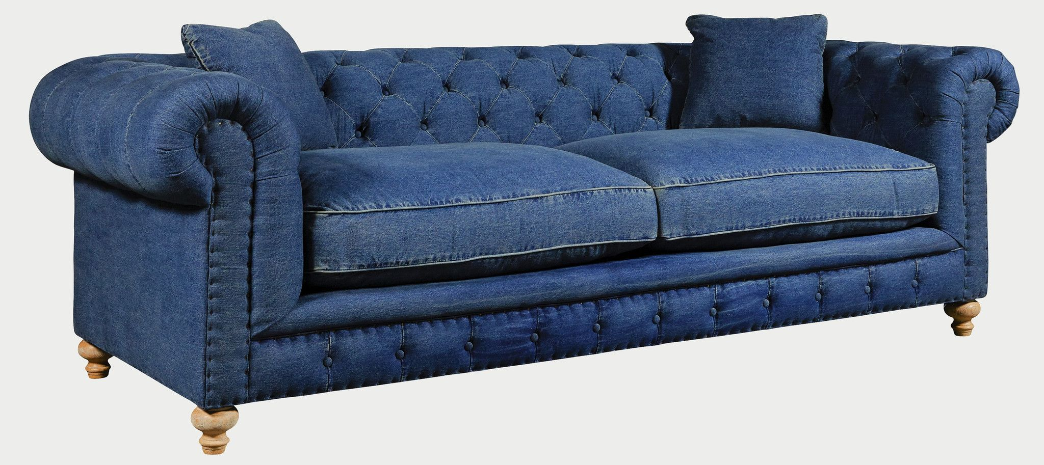 Denim sofas for a cindy crawford home beachside blue denim loveseat at thesofa Denim couch and loveseat