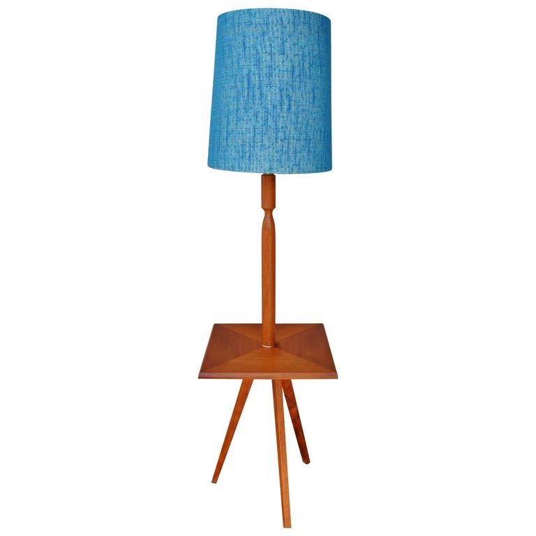 Table With Built In Lamp Interesting Teak Tripod Floor Lamp With Turquoise Shade And Builtin Table Design Decoration