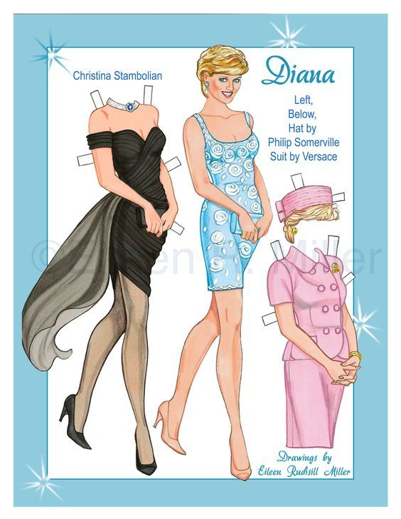 50db9ee58d2 Princess Diana Paper Doll ~`~ Drawn by Eileen R Miller