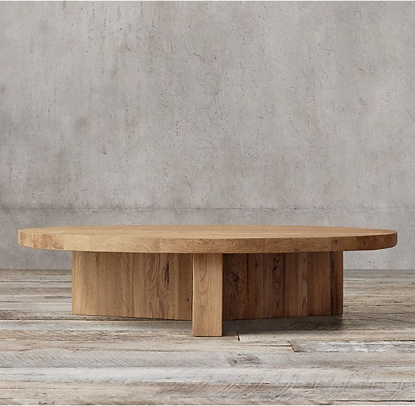 High Quality Reclaimed Russian Oak Plank Round Coffee Table