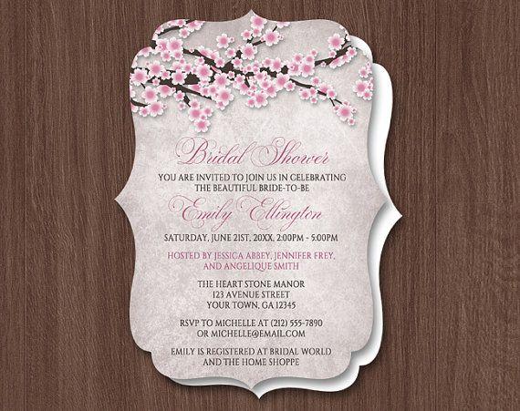 rustic cherry blossom bridal shower vintage die cut invitations