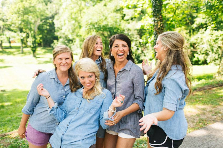 love the chambray tops for the bridal party
