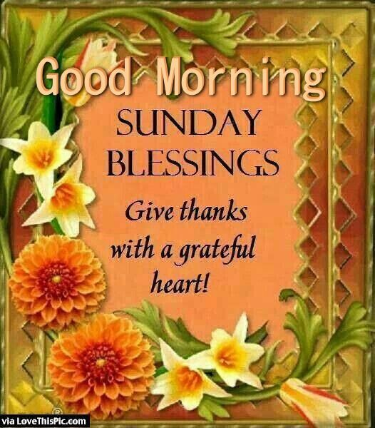 Good Morning Sunday Blessings Give Thanks Good Morning Sunday Sunday