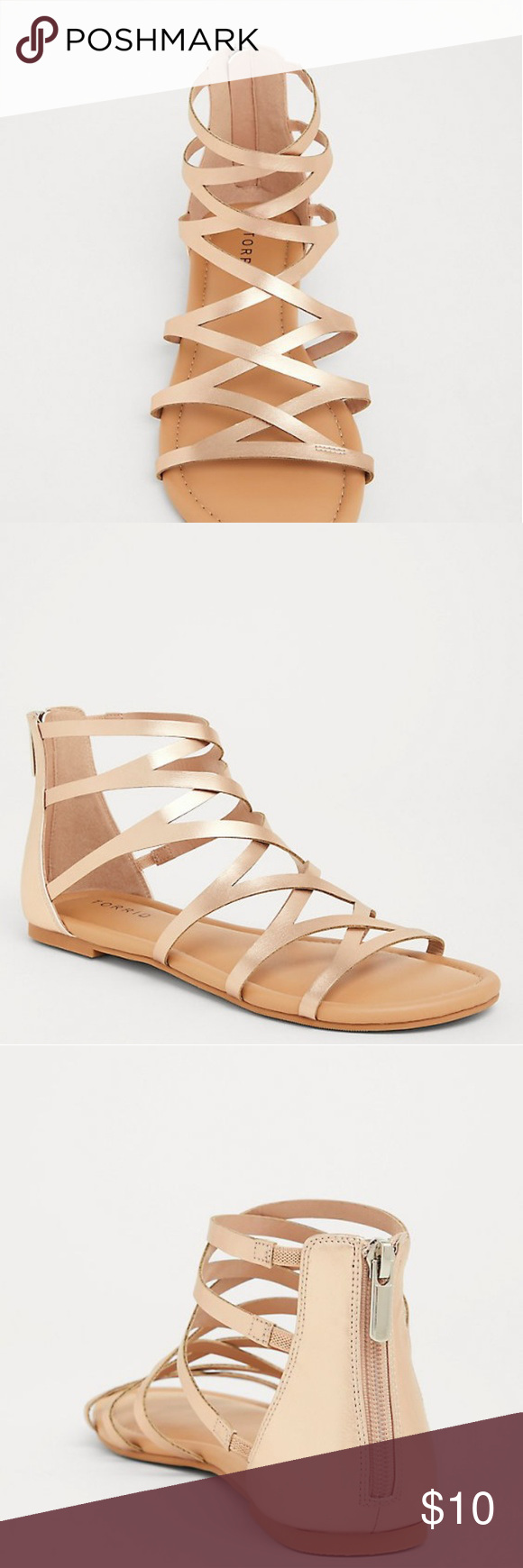 59803f7f966 Torrid Rose Gold Gladiator Sandals A back zip closure lets you slide in and  walk out with ease. Rose gold straps compliment any skin tone and pairs  with ...
