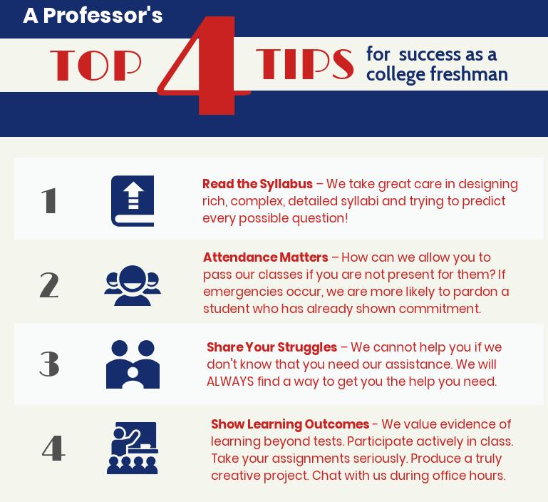 A Professor's Top 4 Tips for Freshman Success College