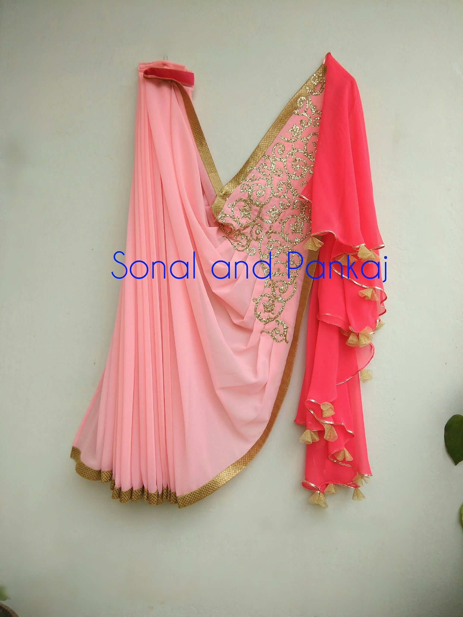 gorgeousness overloadedPrestitched saree with frilly back drop ...