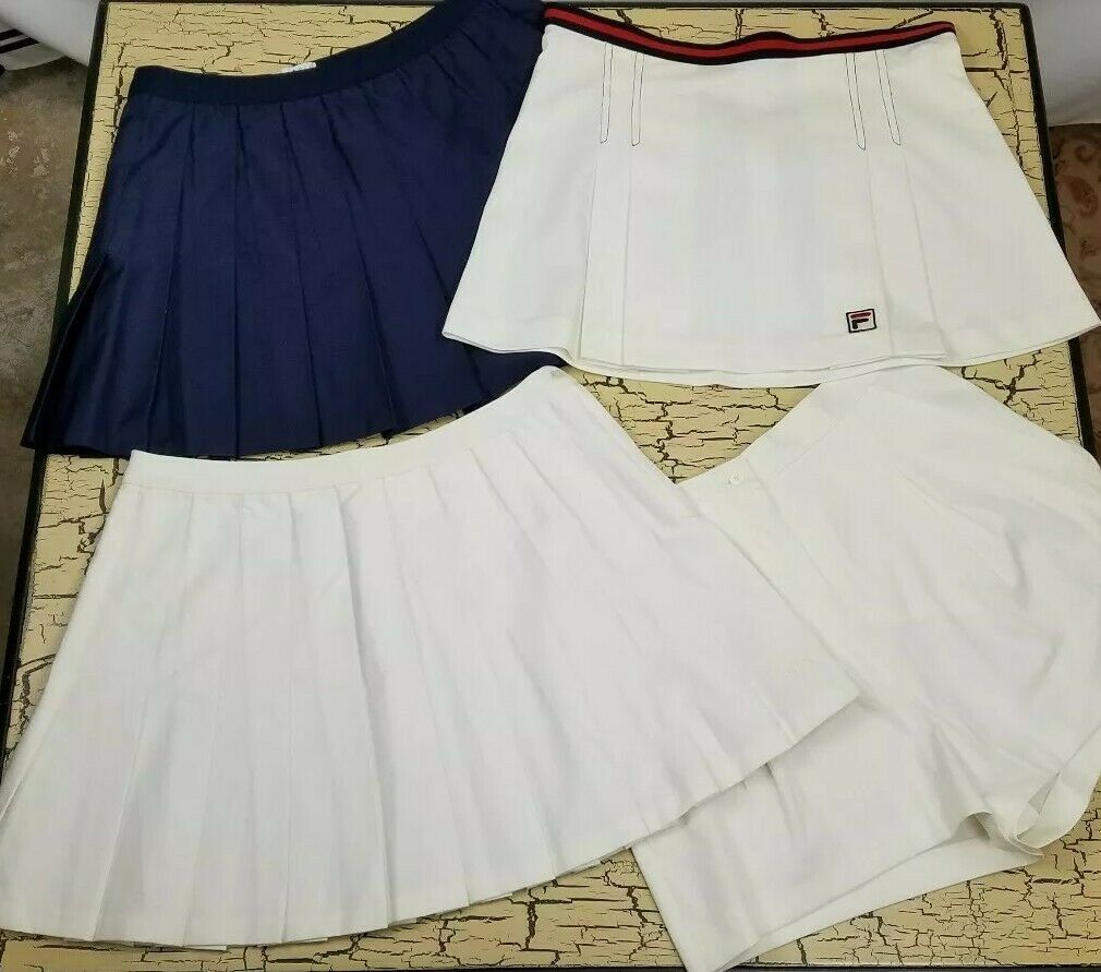 4 Vintage Fila Pleated Tennis Skirt Lot Ladies Size 12 10 White Red Blue Workout Activewear By Forestsvintageshop On Pleated Tennis Skirt Tennis Skirt Fashion