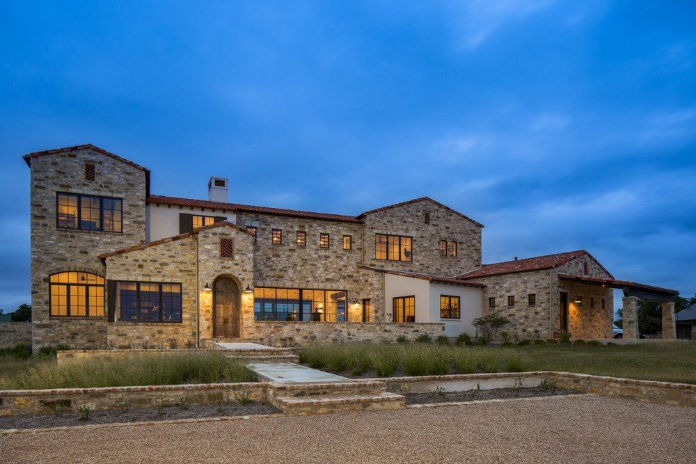 Contemporary Italian Farmhouse Exterior Stone Walls And Roof Tiles Vintage Lighting