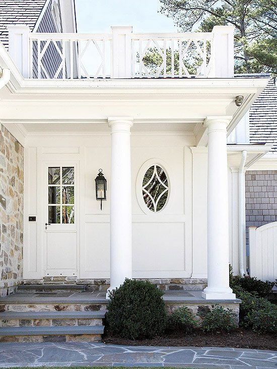 Coordinated hardware and lighting creates a sophisticated entryway: http://www.bhg.com/home-improvement/exteriors/curb-appeal/enhance-front-entry/?socsrc=bhgpin011015coordinatehardwarelighting&page=13