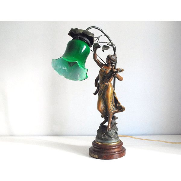 Art Nouveau Lamp French Woman Statue George Geo Maxim Antique 650 Liked On Polyvore Featuring Home Lightin Art Nouveau Lamps Art Nouveau Glass Lamp