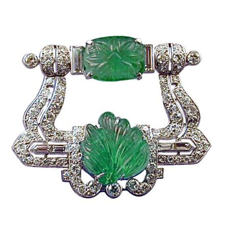Cartier London Art Deco Carved Emerald And Diamond Brooch England 1924