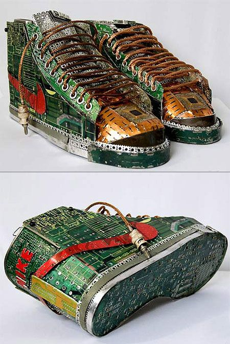 Artist Gabriel Dishaw used only scrap computer and typewriter parts to make thes incredible Nike sneakers.