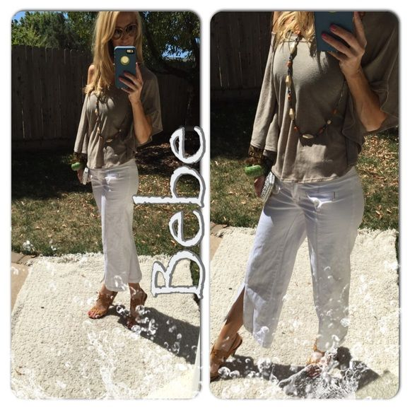Summer Nothing like fresh white for this steaming Cali summer. Love crops! Love Bebe! Love white! Love getting creative with fun easy summer pieces as these fabulous side leg slit jean capris!. Never worn/packed away so just wrinkled. Divine indeed bebe Jeans