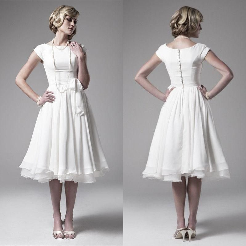 A-Line/Princess High Neck Tea Length Chiffon Wedding Dress - Wedding Dresses #chiffonshorts