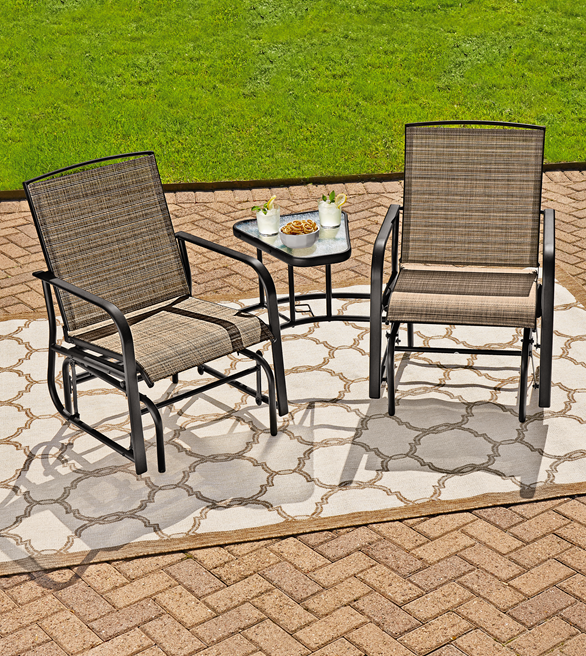 The Northcrest Arlington Tete A Is Perfect For Relaxing Outdoors With It S Motion Glider Chairs And Handy Side Table Snacks Ko