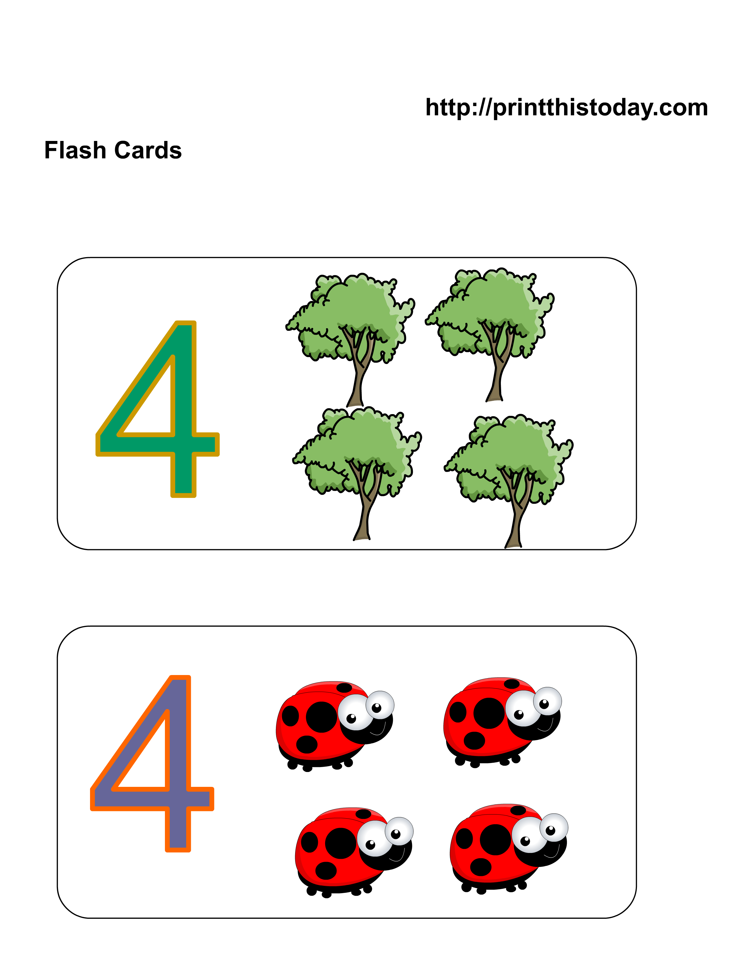 Number Four Flashcards