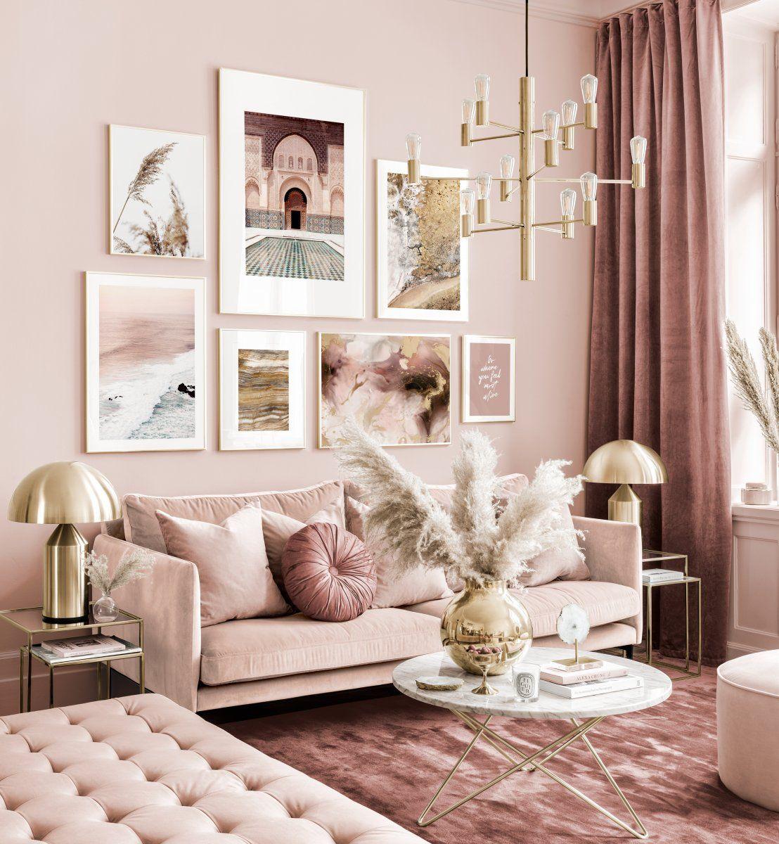 Elegant gallery wall pink-beige living room abstract ...