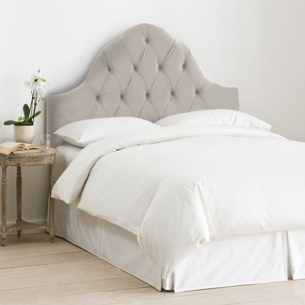 Skyline Furniture Arch Tufted Headboard in Velvet Light Grey ...