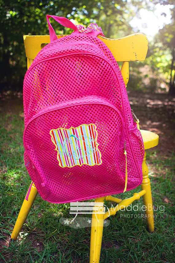 1d2955ef9 Monogram Mesh Backpack Clear Mesh Bookbag Personalized Applique Book Bag  with Ruffle Straps on Etsy, $35.00