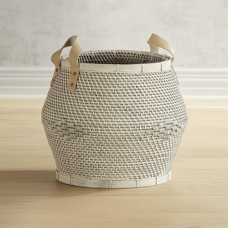Lombok White Oversized Wicker Basket