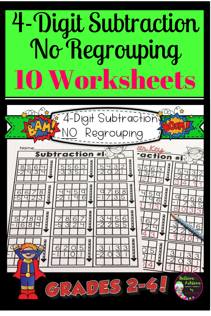 4 Digit Subtraction No Regrouping Worksheets Digital And Print Subtraction Third Grade Lessons Math Resources [ 1102 x 735 Pixel ]