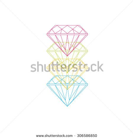 Flat vector icon with gemstones. Diamond, ruby, emerald and sapphire. Line-