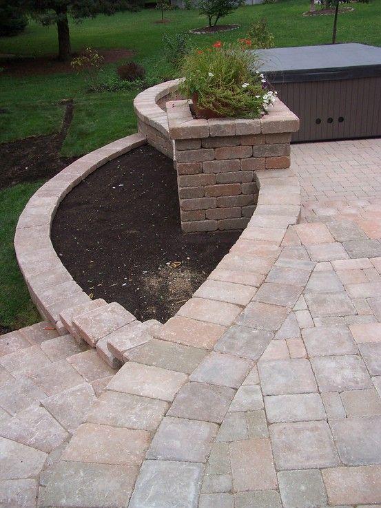 built in planter off raised terrace unilock brussels block