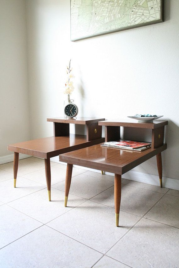 Mid Century Modern Step Tables Vintage Danish Modern Side Tables