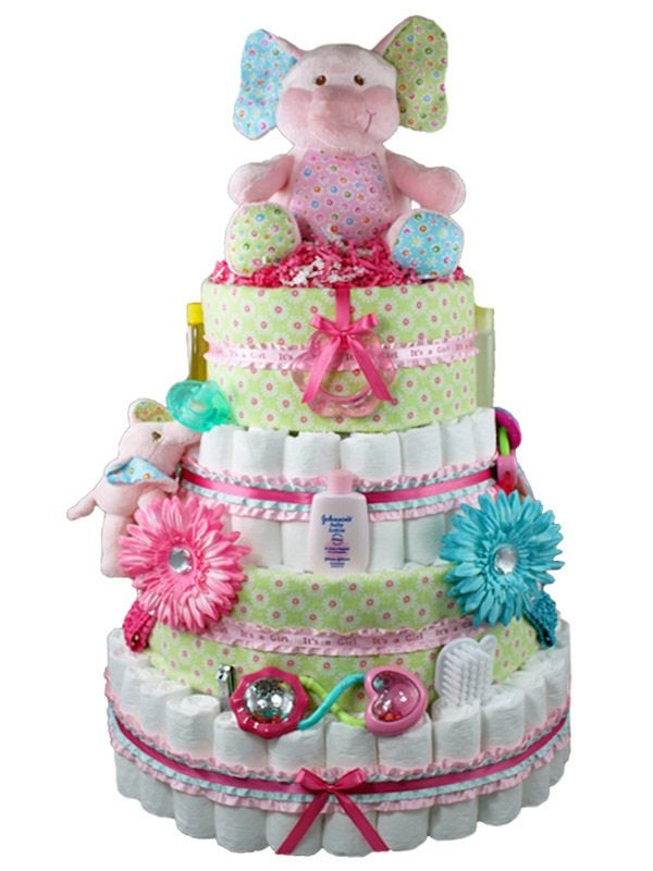 Blooming elephant baby girl diaper cake baby gifts interesting blooming elephant baby girl diaper cake baby gifts negle Image collections