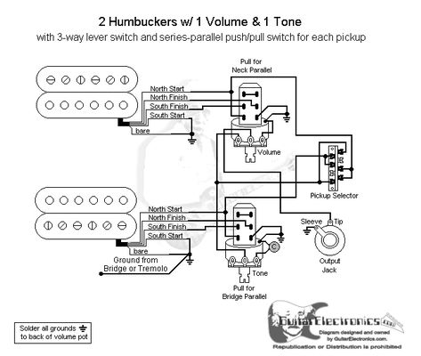 2 Humbuckers 3 Way Lever Switch 1 Volume 1 Tone Series Parallel Toggle Switch Series Parallel Switch