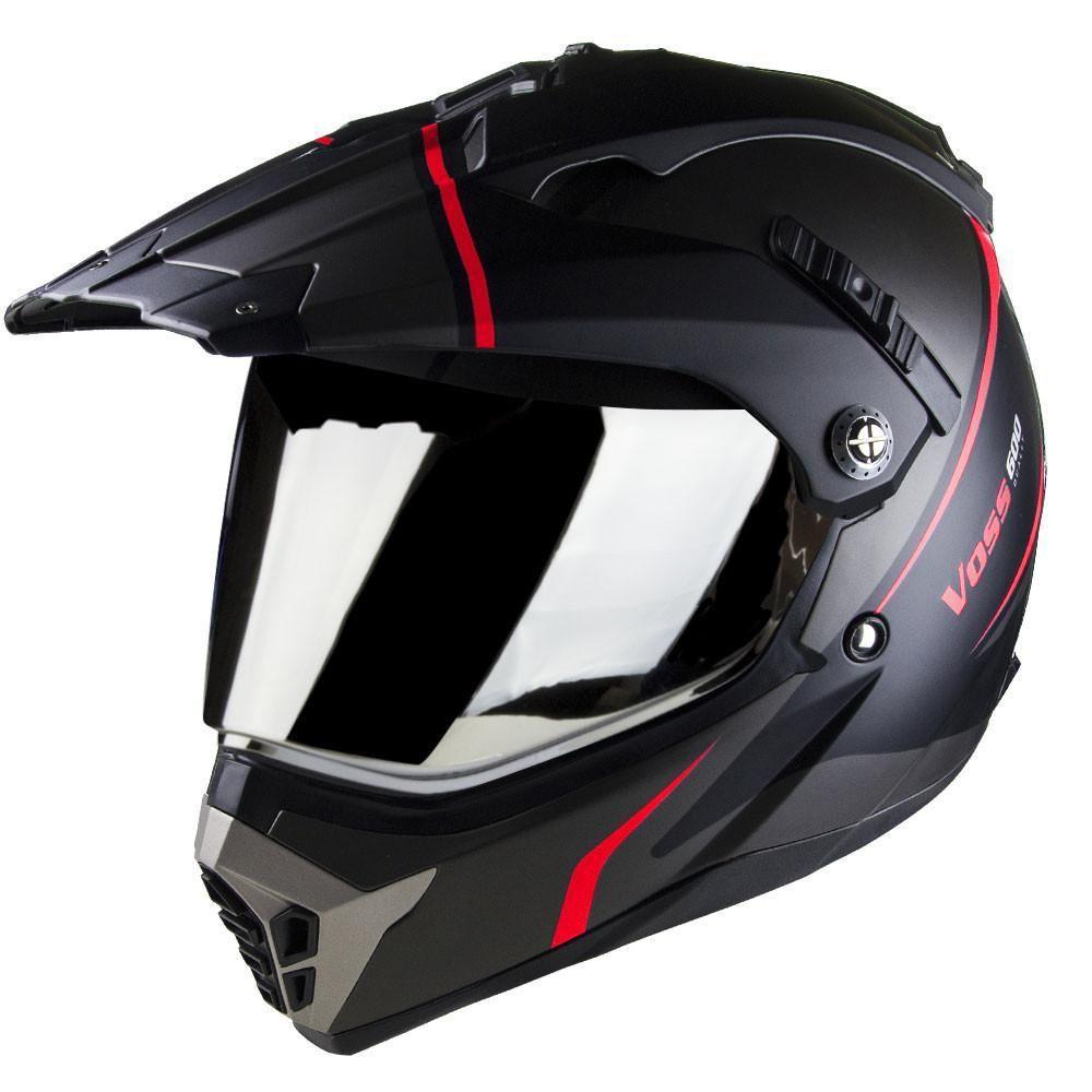 600 Dually Dual Sport Helmet Matte Red Thunderbolt