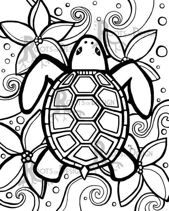 INSTANT DOWNLOAD Coloring Page   Simple Turtle Zentangle Inspired, Doodle  Art, Printable