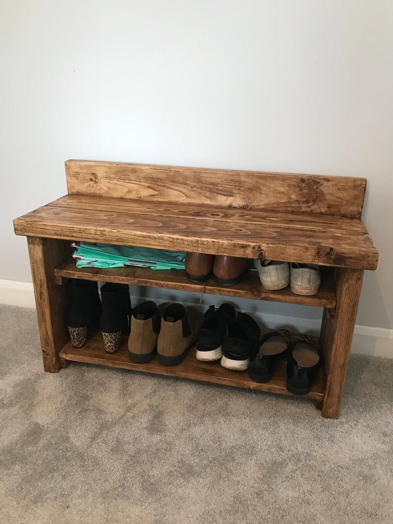 Rustic Shoe Rack With Bench Hallway Wooden Bench Seat With Etsy Wooden Bench Seat Rustic Shoe Rack Storage Bench Seating