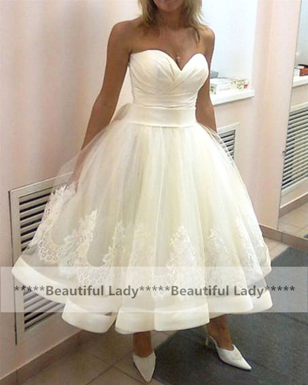 Superb Sexy Short Wedding Dress Sweetheart A Line Appliques Tull White Cheap Wedding Gowns Fast Shipping