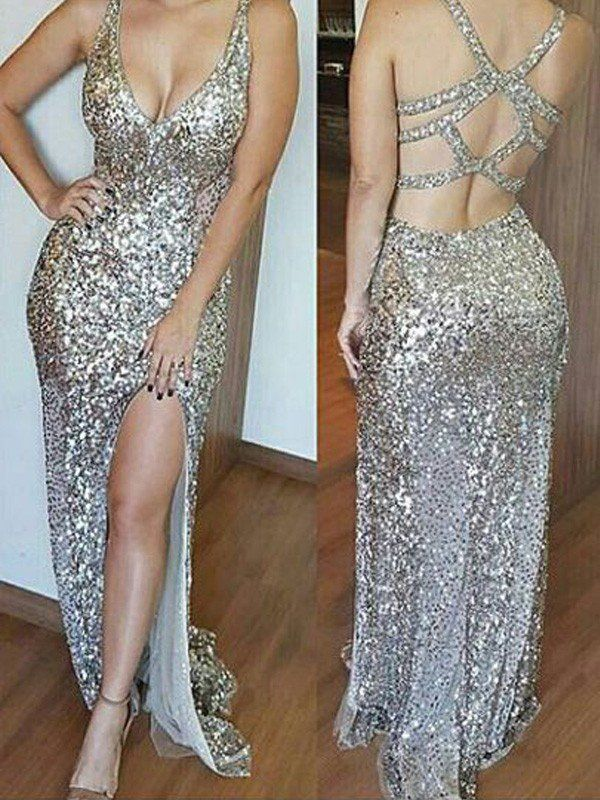 V Neck Chiffon Prom Dresses 2020 Sleeveless Backless