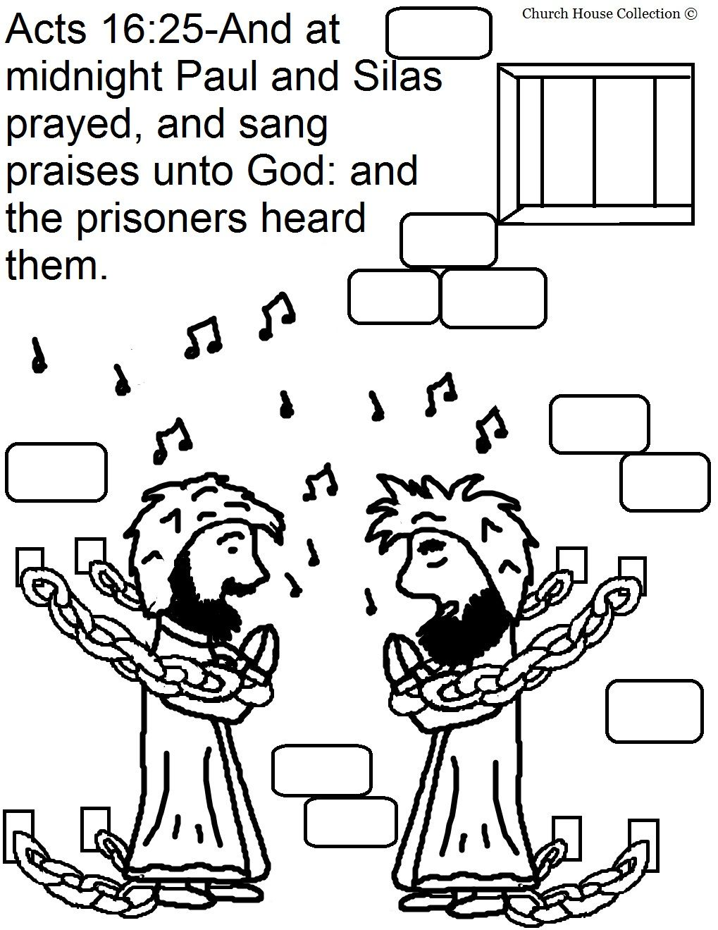 Church House Collection Blog: Paul and Silas In Jail Coloring Pages ...