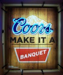 Coors Banquet Wood Neon Beer Bar Sign Light