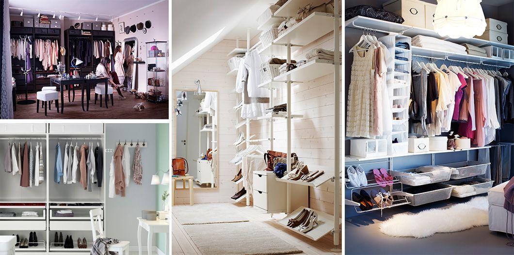 Chicas midi ndose ropa en un vestidor armario con camisas - Baldas para zapatos ...