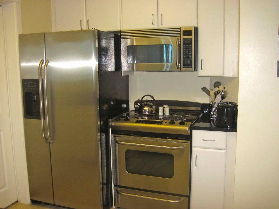 Refrigertor With Against Wall Condo Kitchen Design Ideas on